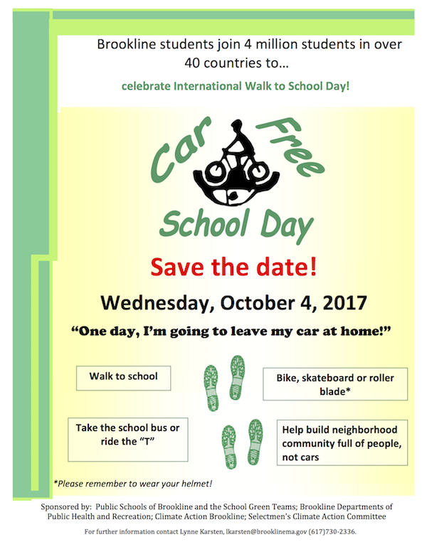 Brookline students join 4 million students in over 40 countries to  celebrate International Walk to School Day!